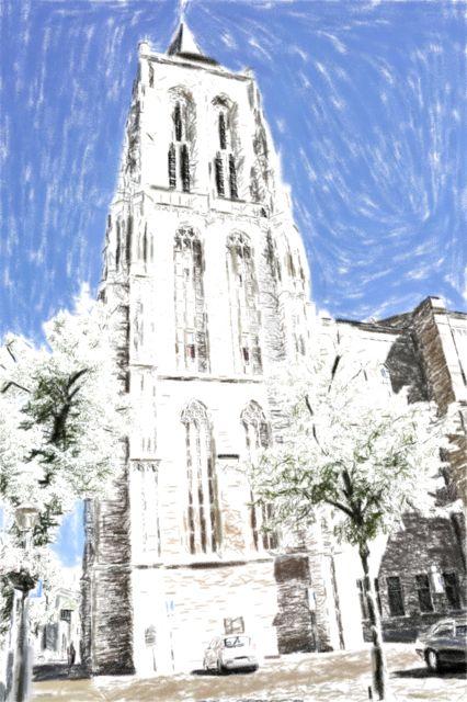 De kerk van Gorinchem in pastel