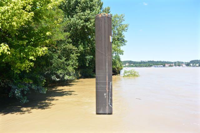 Downstream gezien vanaf de steiger; wonderlijke kleur heeft die rivier